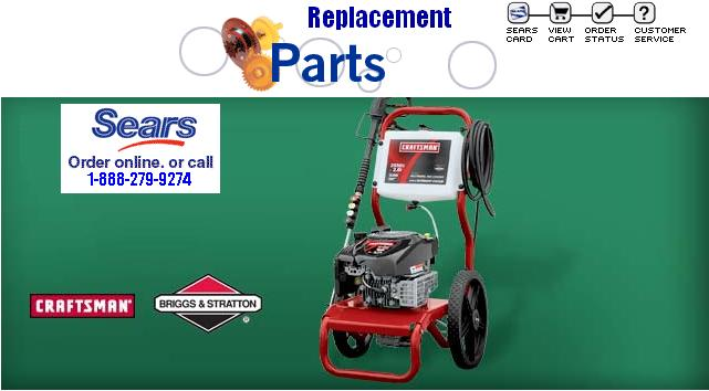 Sears Craftsman Pressure Washer replacement parts, pumps, breakdowns & repair kits. Some part #'s have changed & some of the pressure washer parts are newer versions and will not look exactly the same but will work just as good.